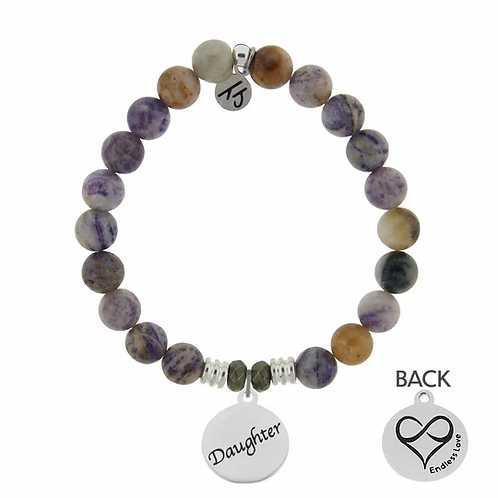 T.Jazelle Sage Amethyst Agate Stone Bracelet with Daughter Endless Love Sterling