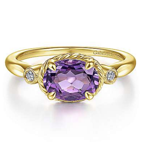 Gabriel & Co.14K Yellow Gold Oval Amethyst and Diamond Three Stone Ring