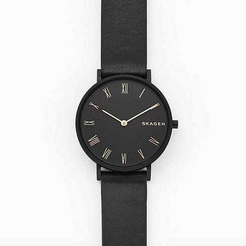 SKAGEN Hald Slim Black Leather Watch