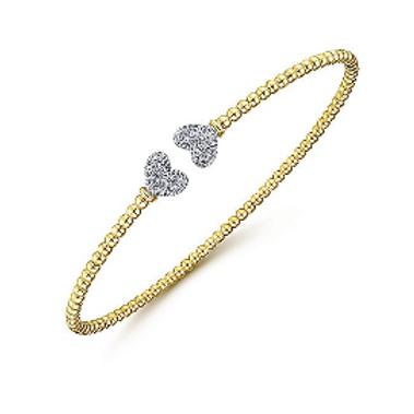 Gabriel & Co. - 14K Yellow Gold Split Cuff with White Gold Diamond Hearts