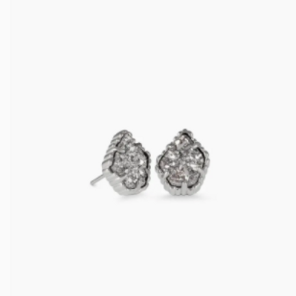 Kendra Scott - Tessa Silver Stud Earrings In Platinum Drusy