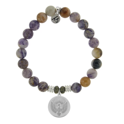 T.Jazelle Sage Amethyst Agate Stone Bracelet with Phoenix Sterling Silver Charm