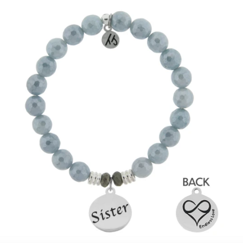T.Jazelle Blue Quartzite Stone Bracelet with Sister Endless Love Sterling Silver
