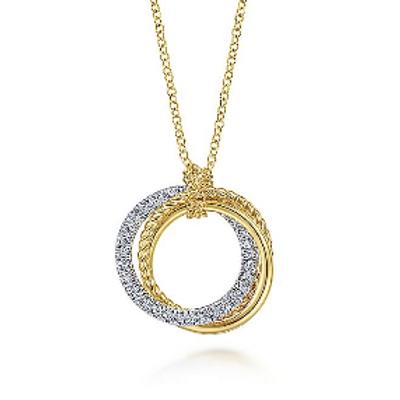 Gabriel & Co. - 14K Yellow-White Gold Diamond Twisted Rope Interlocking Circles