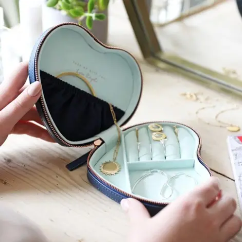 Navy Mint Heart Travel Jewellery Case