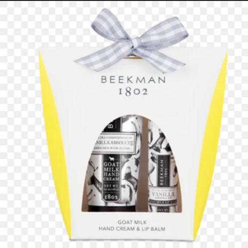 Beekman Vanilla Absolute  2oz Hand cream and Lip Balm Set
