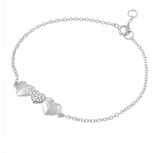 Sterling Silver Rhodium Plated 3 Heart CZ Bracelet