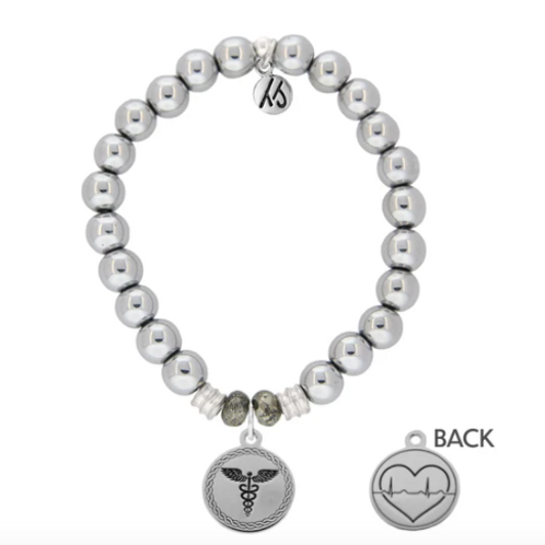 T.Jazelle Silver Steel Bracelet with Caduceus Sterling Silver Charm