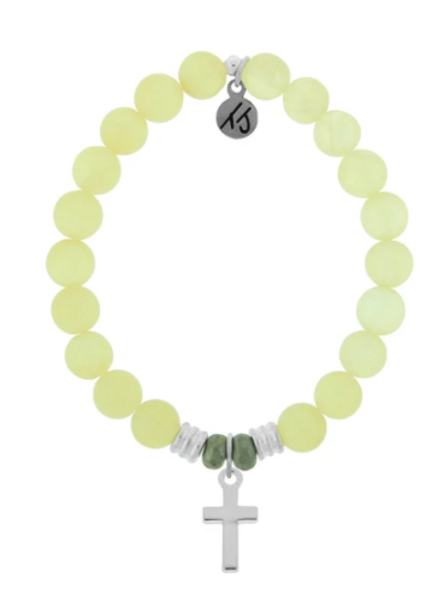 T.Jazelle Yellow Calcite Stone Bracelet with Cross Sterling Silver Charm