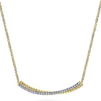 Gabriel & Co. 14K Yellow-White Gold Bujukan Bead and Diamond Pavé  Bar Necklace