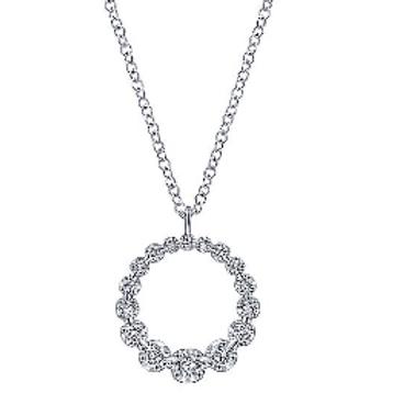 Gabriel & Co. 14K White Gold Diamond Circle Pendant Necklace