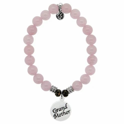 T.Jazelle Rose Quartz Stone Bracelet with Grandmother Sterling Silver Charm