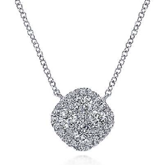 Gabriel & Co. 14K White Gold Pavé Diamond Cushion Pendant Necklace