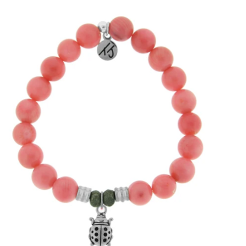 T.Jazelle Pink Coral Stone Bracelet with Ladybug Sterling Silver Charm