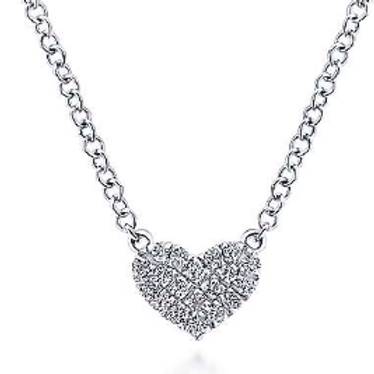Gabriel & Co.14K White Gold Pavé Diamond Pendant Heart Necklace