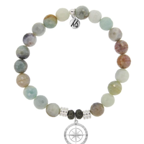 T.Jazelle Amazonite Stone Bracelet with Compass Rose Sterling Silver Charm