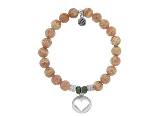 T.Jazelle Rhodochrosite Stone Bracelet with Heart Sterling Silver Charm