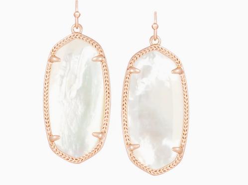 Kendra Scott Elle Rose Gold Drop Earrings In Ivory Pearl