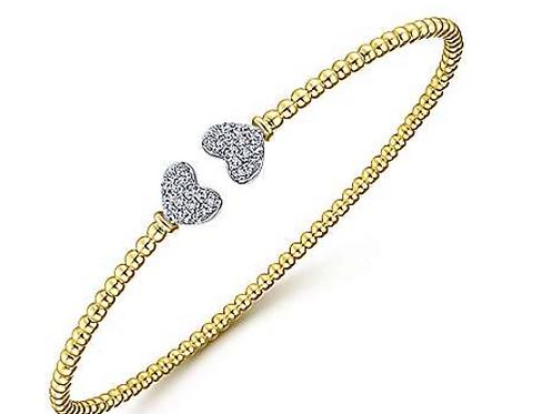 Gabriel & Co. 14K Yellow Gold Bujukan Split Cuff with White Gold Diamond Hearts