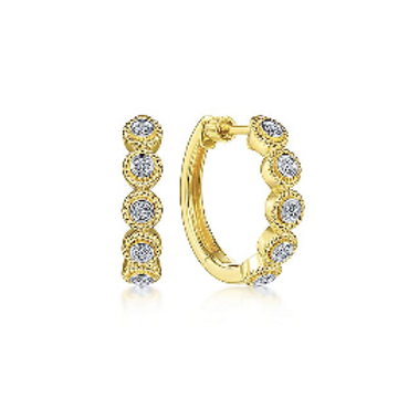 Gabriel & Co. -14K Yellow Gold Round Diamond Station Huggie Earrings