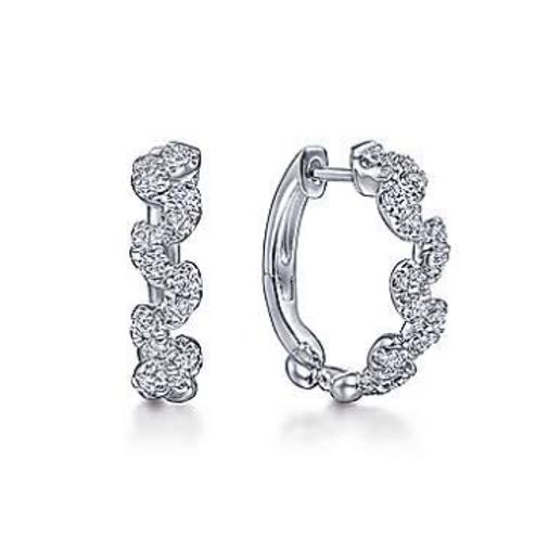 Gabriel & Co. 14K White Gold 15mm Diamond Huggie Earrings