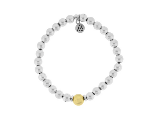 T.Jazelle The Cape Bracelet - Silver Steel with Gold Ball
