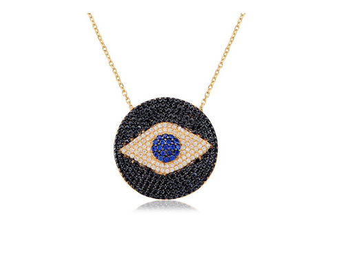 "18"" Sterling Silver Gold Plated Evil Eye Necklace"