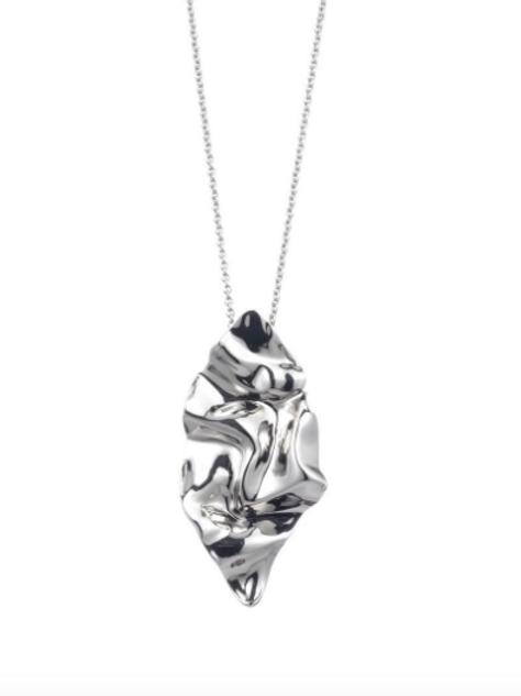 Alexis Bittar - Crumpled Rhodium Pendant Necklace