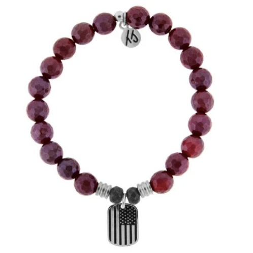T.Jazelle Red Ruby Agate Stone Bracelet with Support our Troops Sterling Silver