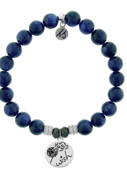T.Jazelle Kyanite Stone Bracelet with Wish Sterling Silver Charm