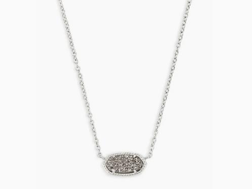 Kendra Scott Elisa Silver Pendant Necklace In Platinum Drusy