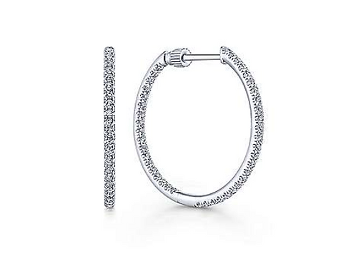 Gabriel & Co. 14K White Gold Pavé 20mm Round Inside Out Diamond Hoop Earrings