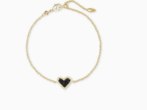 Kendra Scott Ari Heart Gold Chain Bracelet In Black Drusy