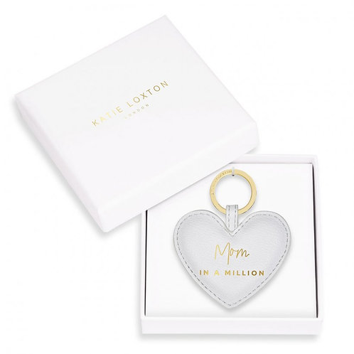 Kaite Loxton Boxed Sentiment Heart Keychain   Mom In A Million   Gray