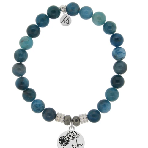 T.Jazelle Arctic Apatite Stone Bracelet with Wish Sterling Silver Charm