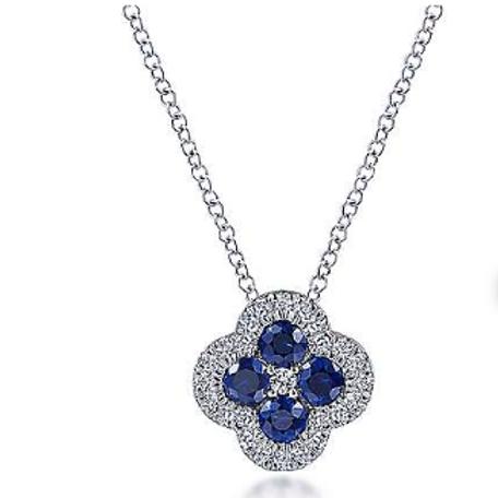 Gabriel & Co. 14K White Gold Diamond & Sapphire Pendant Necklace
