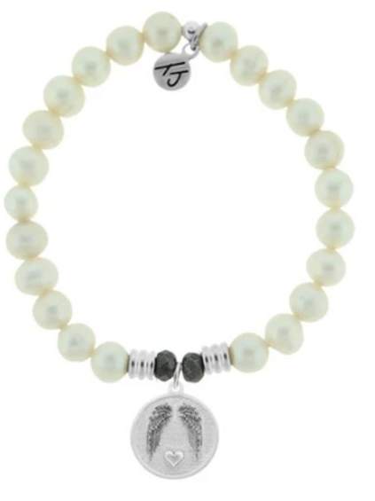 T.Jazelle White Pearl Stone Bracelet with Guardian Sterling Silver Charm