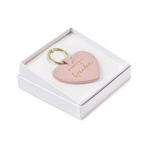 Kaite Loxton Boxed Sentiment Heart Keychain | Wonderful Grandma | Blush Pink