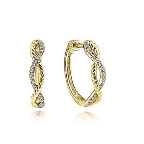 Gabriel & Co. 14K Yellow Gold 15mm Twisted Rope and Diamond Huggie Earrings