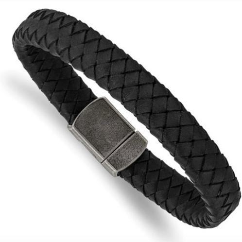 Stainless Steel Antiqued Black Leather 8.25in Bracelet