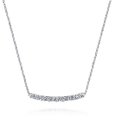 Gabriel & Co. - 14K White Gold Round and Baguette Diamond Curved Bar Necklace