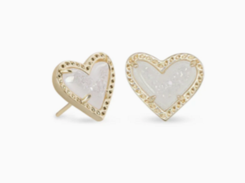 Kendra Scott - Ari Heart Gold Stud Earrings In Iridescent Drusy