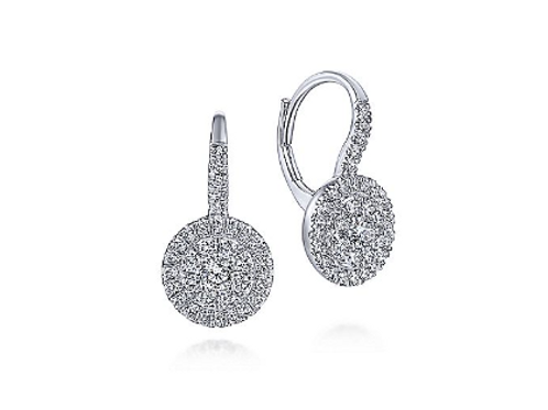 Gabriel & Co. - 14K White Gold Round Diamond Cluster Leverback Earrings