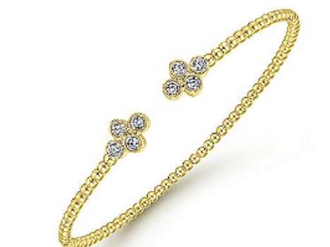 Gabriel & Co. 14K Yellow Gold Bujukan Bead Split Cuff Bracelet