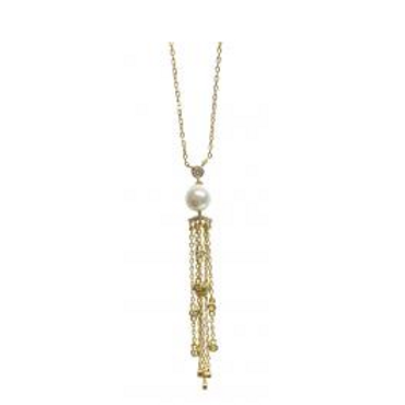 """18"""" Sterling Silver Gold Plated Pearl Tassle Necklace"""