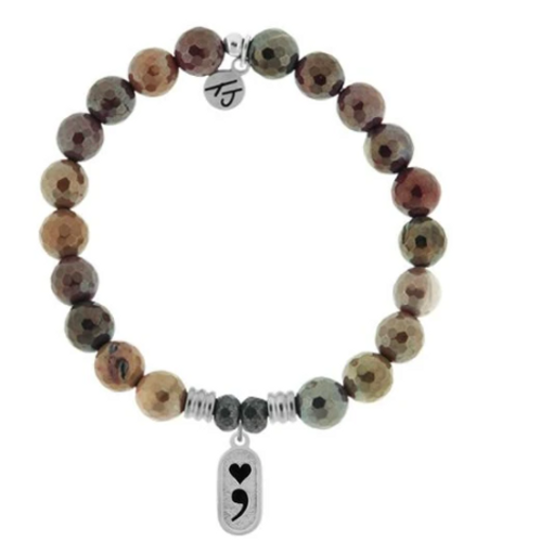 T.Jazelle Mookaite Stone Bracelet with Continue Sterling Silver Charm