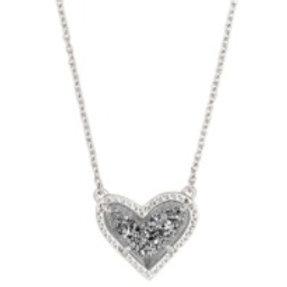Kendra Scott - Ari Heart Silver Pendant Necklace In Platinum Drusy