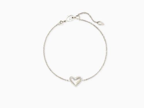 Kendra Scott Ari Heart Silver Chain Bracelet In Ivory Mother-Of-Pearl
