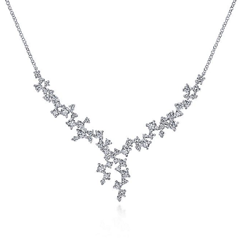 Gabriel & Co. - 18K White Gold Waterfall Lariat Diamond Cluster Necklace