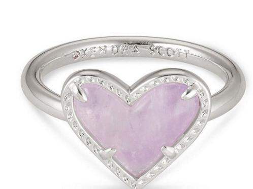 Kendra Scott Ari Heart Silver Band Ring - Size 6